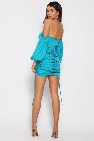 Runaway the Label Pouffe Sleeve Mini Dress - Teal