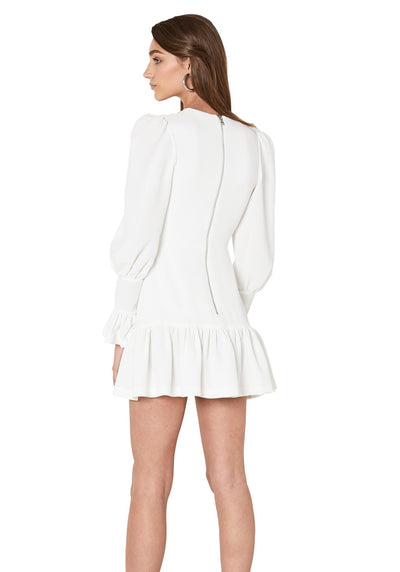 By Johnny Anna V Tulip Sleeve Dress - White