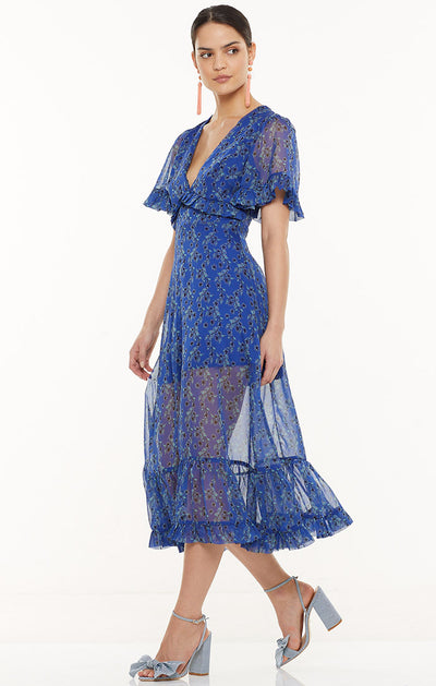 Talulah Morning Light Midi Dress - Blue Floral