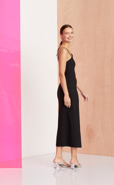 Bec & Bridge Dominique Asym Midi Dress - Black