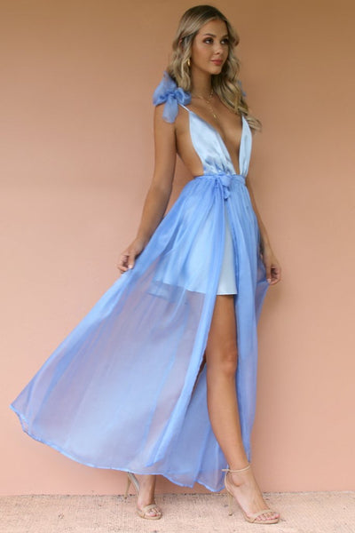 Sisters The Label Alexis Mini Gown - Satin Silk Frosted Blue