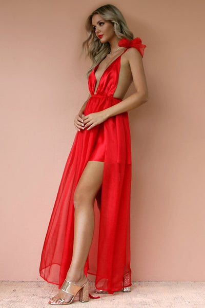 Sisters The Label Alexis Mini Gown - Satin Silk Rouge