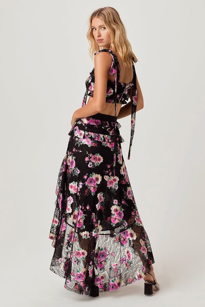 For Love & Lemons Benatar Tiered Ruffle Maxi Skirt - Foilfloral