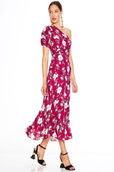 Talulah Cannes Midi Dress - Burgundy Floral