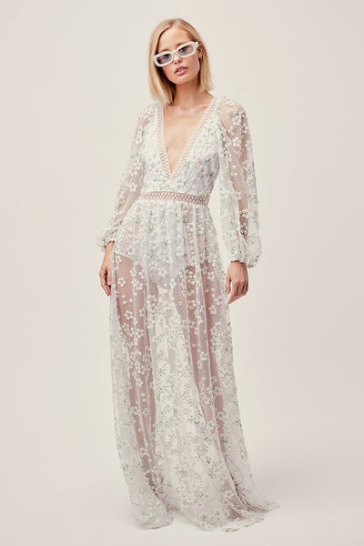 For Love & Lemons Eclair Maxi Dress - Ivory Floral