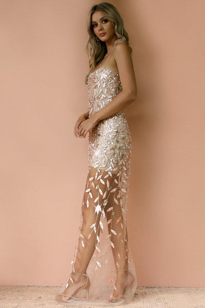 Sisters The Label Elle Gown Slip - Embellished Flora Champagne