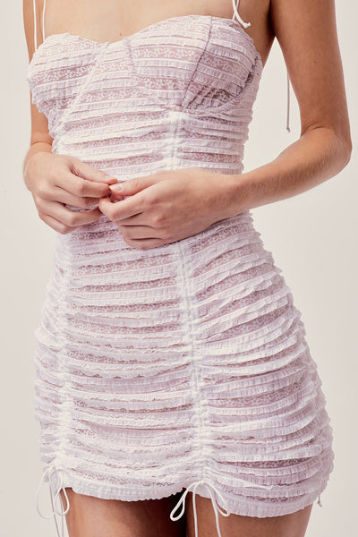 For Love & Lemons Fondant Shirred Mini Dress - White