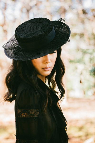 Heather McDowall Louise Guipure Lace Boater Hat - Black