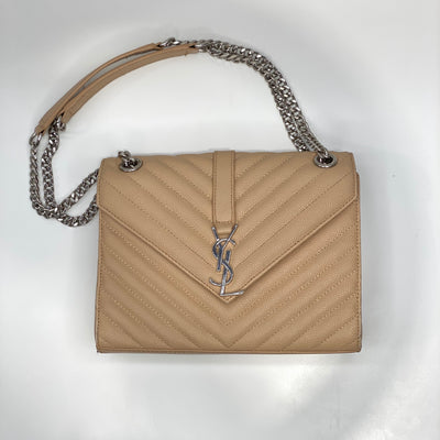 Saint Laurent Quilted Monogram Bag - Nude/Silver