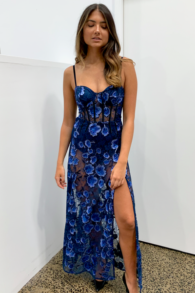 For Love & Lemons Victoria Embroidered Maxi Dress - Bleu