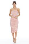 Reign Cartel Stella Ruched Midi Dress - Blush