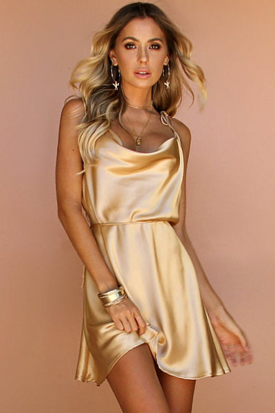 Sisters the Label Lottie Bow Slip Mini Dress - Champagne Silk