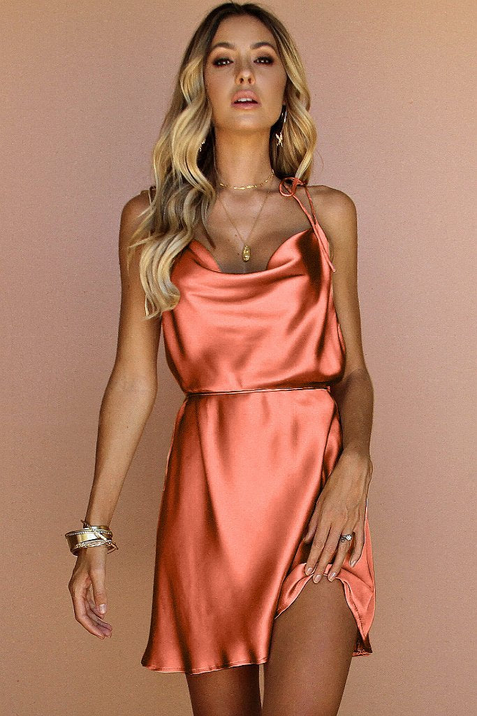 12dff6a8863d8 Sisters The Label - Lottie Bow Slip Mini Dress - Coral Silk | All The  Dresses