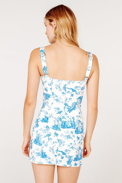 For Love & Lemons Monika Hook Front Mini Dress - Blue