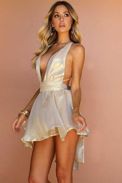 Sisters the Label Teaser Mini Dress - High Sheen Gold Silk