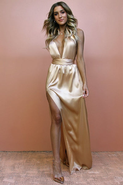Sisters The Label Multiway Gown - Satin Silk Champagne
