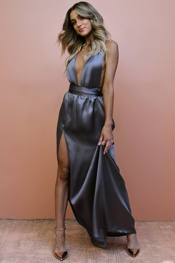 344c4527214 Sisters The Label Multiway Gown - Satin Silk Slate - Dress Hire AU