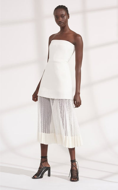 Dion Lee Net Pleat Strapless Dress - White