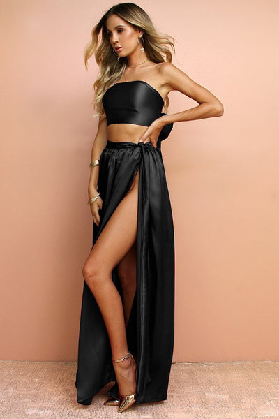 Sisters the Label Wrap Two Piece Gown - Satin Silk Noir