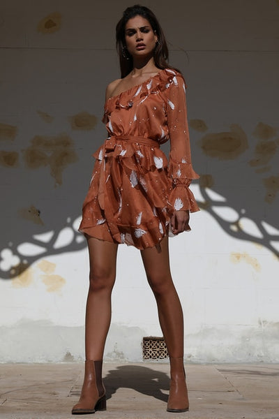 Prem the Label Peace Paint Dress - Rust/White