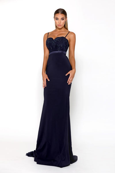 Portia & Scarlett Lody Sienna With Lace Train - Navy