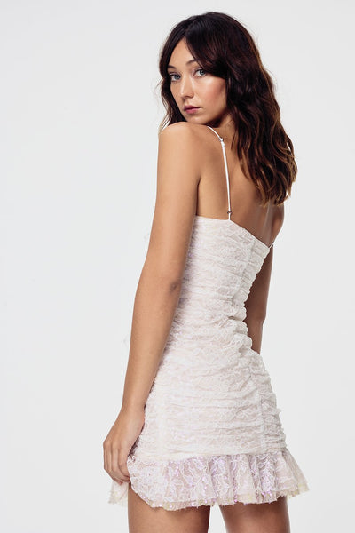 For Love & Lemons Rodin Iridescent Mini Dress - Blanc