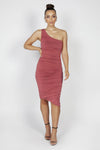 Reign Cartel Mila Ruched Midi Dress - Marsala