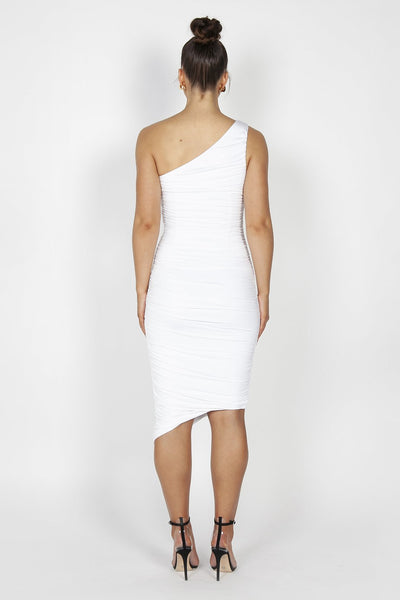 Reign Cartel Mila Ruched Midi Dress - White