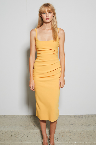 Bec & Bridge Karina Tuck Mid Dress - Tangerine