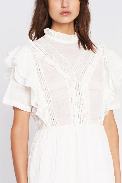 Sir the Label Lucille Embroidered Ruffle Mini Dress - Ivory