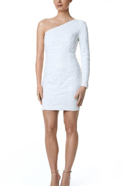 Santina-Nicole Freya One Shoulder Sequin Dress - White