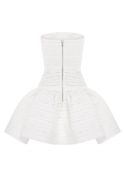 Alex Perry Sophie Stripe Jacquard Strapless Mini Dress - White