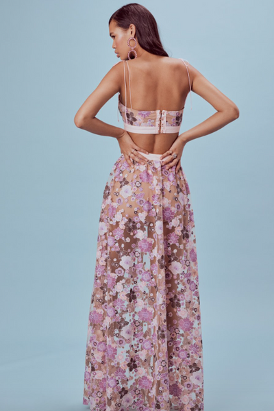 For Love & Lemons Posy Embroidery Maxi Skirt - Floral
