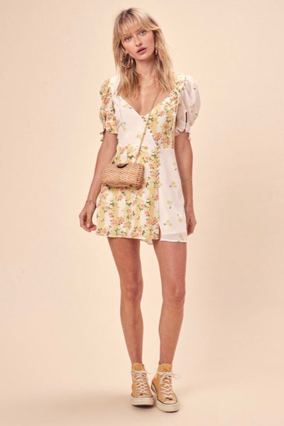 For Love & Lemons Savannah Wrap Mini Dress - Buttercreme