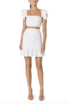 Santina-Nicole Sole Ruched Linen Crop - Off White