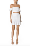 Santina-Nicole Sole Ruched Linen Skirt - Off White