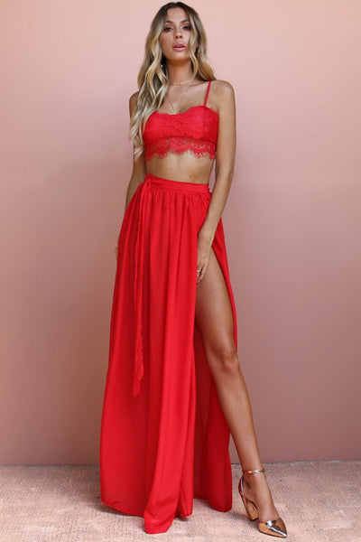 Sisters the Label Valentine Lace Two Piece Gown - Silk Scarlet Scandal