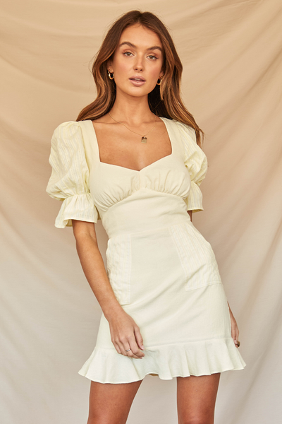 Runaway The Label Lony Tie Dress - Lemon