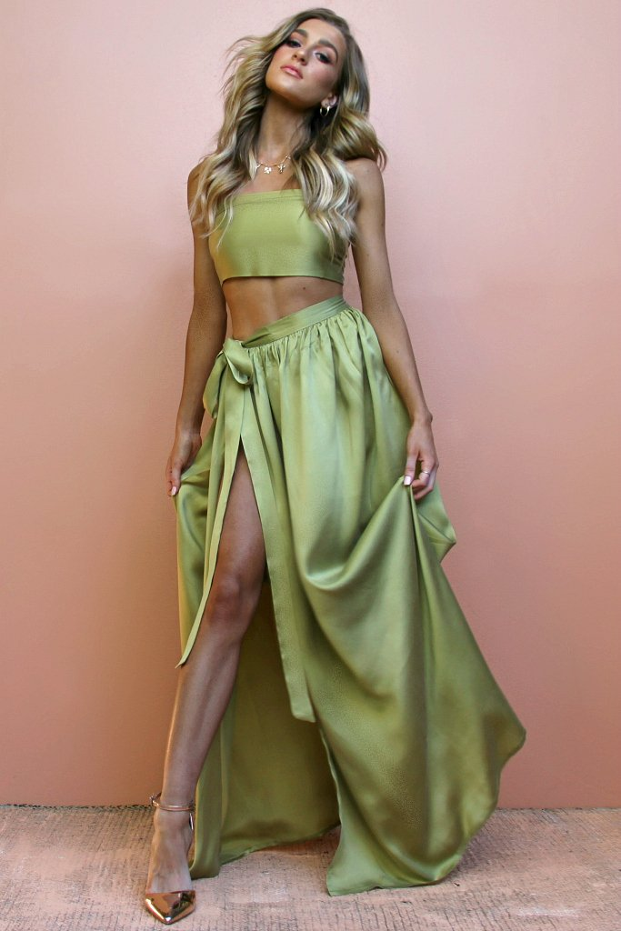 Sisters The Label Wrap Two Piece Gown Sueded Silk Olive