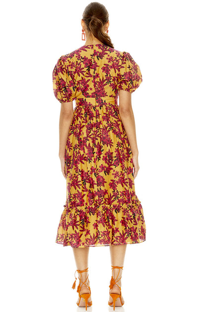 Talulah Red Sea Midi Dress - Burgundy Floral