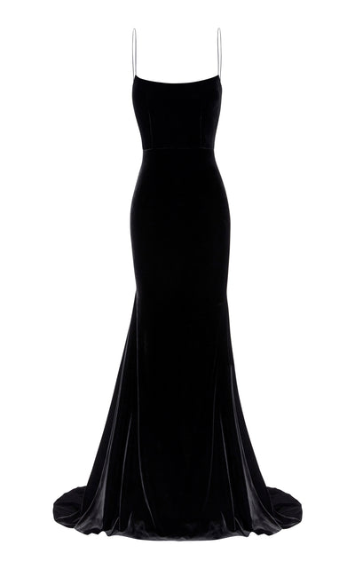 Alex Perry Kim Velvet Slip Dress - Black