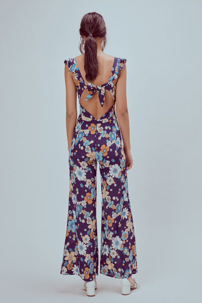 For Love & Lemons Magnolia Ruffled Jumpsuit - Midnight Blossom