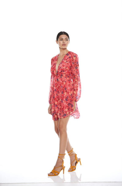 Talulah Daze Long Sleeve Mini Dress - Wisteria Print