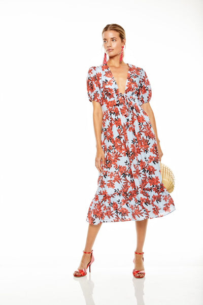 Talulah Red Sea Midi Dress - Floral
