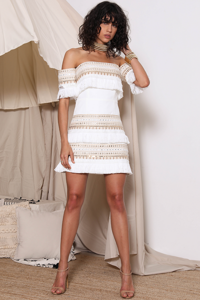 Prem the Label Makeda Mini Dress - White/Gold