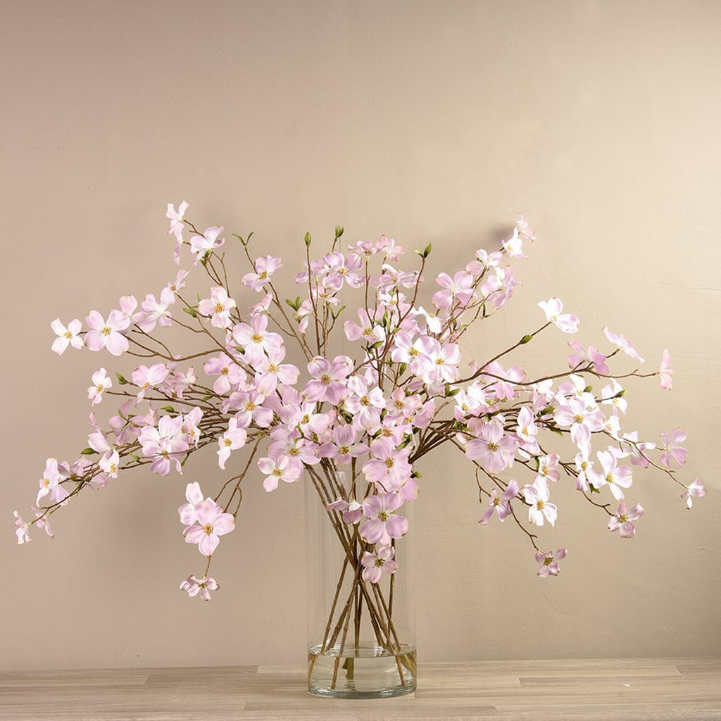Artificial Dogwood Arrangement in Glass Vase, Faux Dogwood Arrangement in Glass Vase, Fake Dogwood Arrangement in Glass Vase  - Bloomr