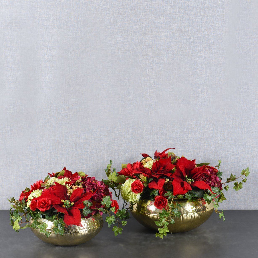 Artificial Red Christmas Flower Arrangement, Faux Red Christmas Flower Arrangement, Fake Red Christmas Flower Arrangement  - Bloomr