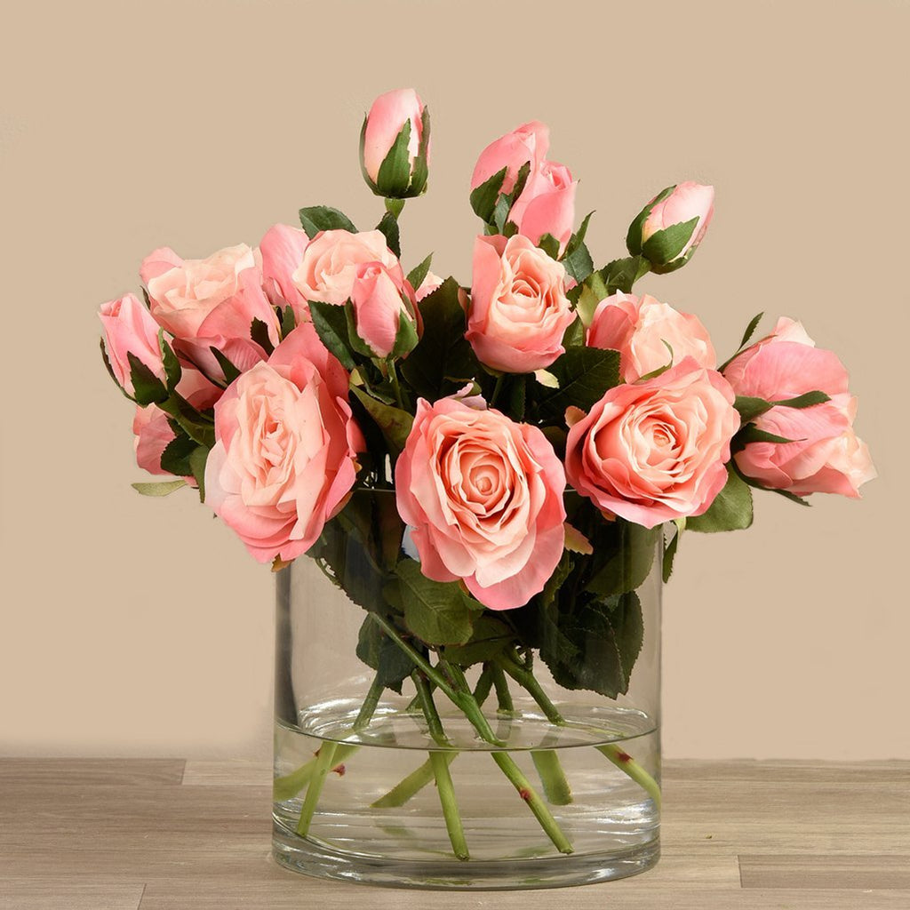 Artificial Rose Arrangement in Glass Vase, Faux Rose Arrangement in Glass Vase, Fake Rose Arrangement in Glass Vase  - Bloomr