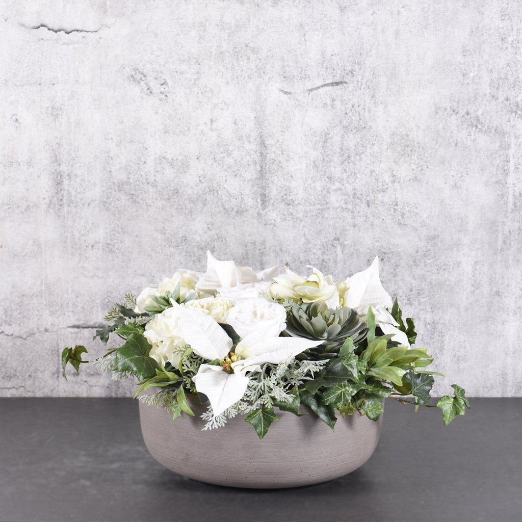 Bloomr Flowers Small White Christmas Arrangement artificial flowers artificial trees artificial plants faux florals
