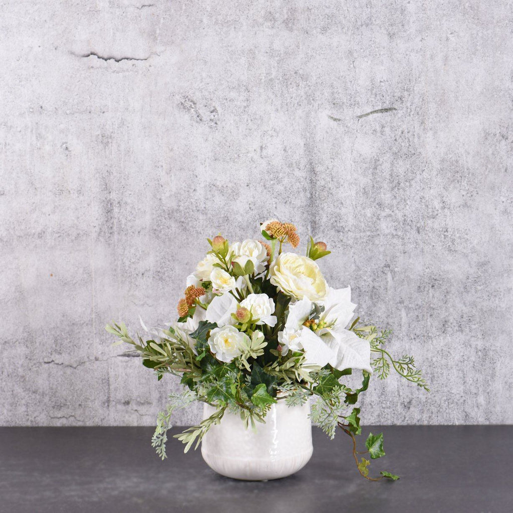 Bloomr Flowers White Christmas Flower Arrangement artificial flowers artificial trees artificial plants faux florals